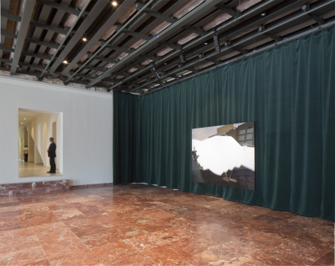 COD Main Hall curtain, a deep green velvet with a skin colored voile. With the support of Kvadrat